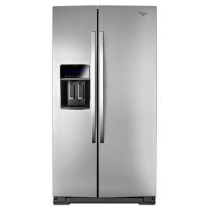 Click here to buy Whirlpool 36 inch W 19.9 cu. ft. Side by Side Refrigerator in Monochromatic Stainless Steel, Counter Depth by Whirlpool.