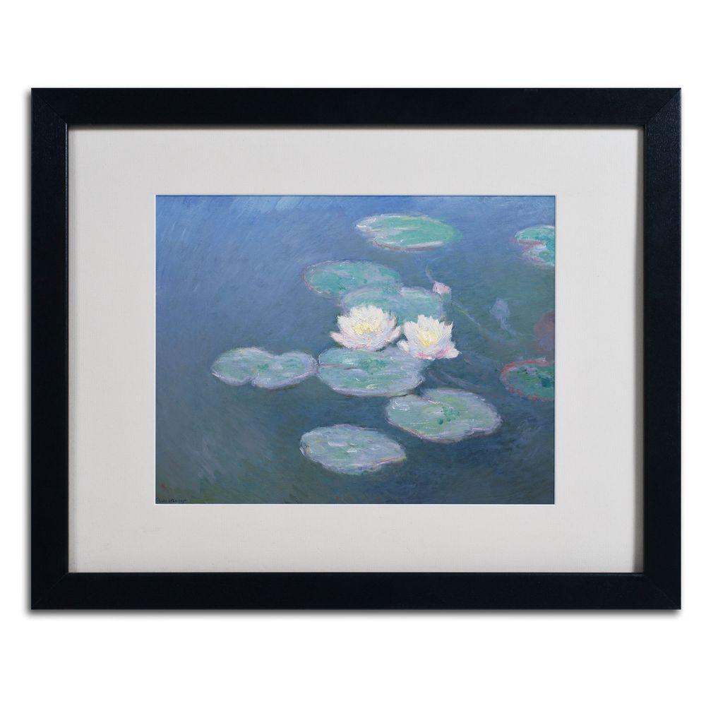 Trademark Fine Art 16 in. x 20 in. Waterlilies Evening Matted Black Framed Wall Art