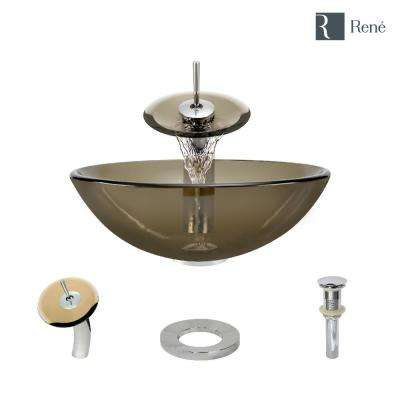 Glass Vessel Sink in Cashmere with Waterfall Faucet and Pop-Up Drain in Chrome