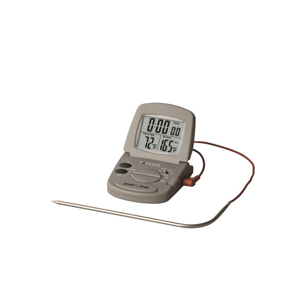 Multi-use Gray Digital Probe Food Thermometer with Timer Feature