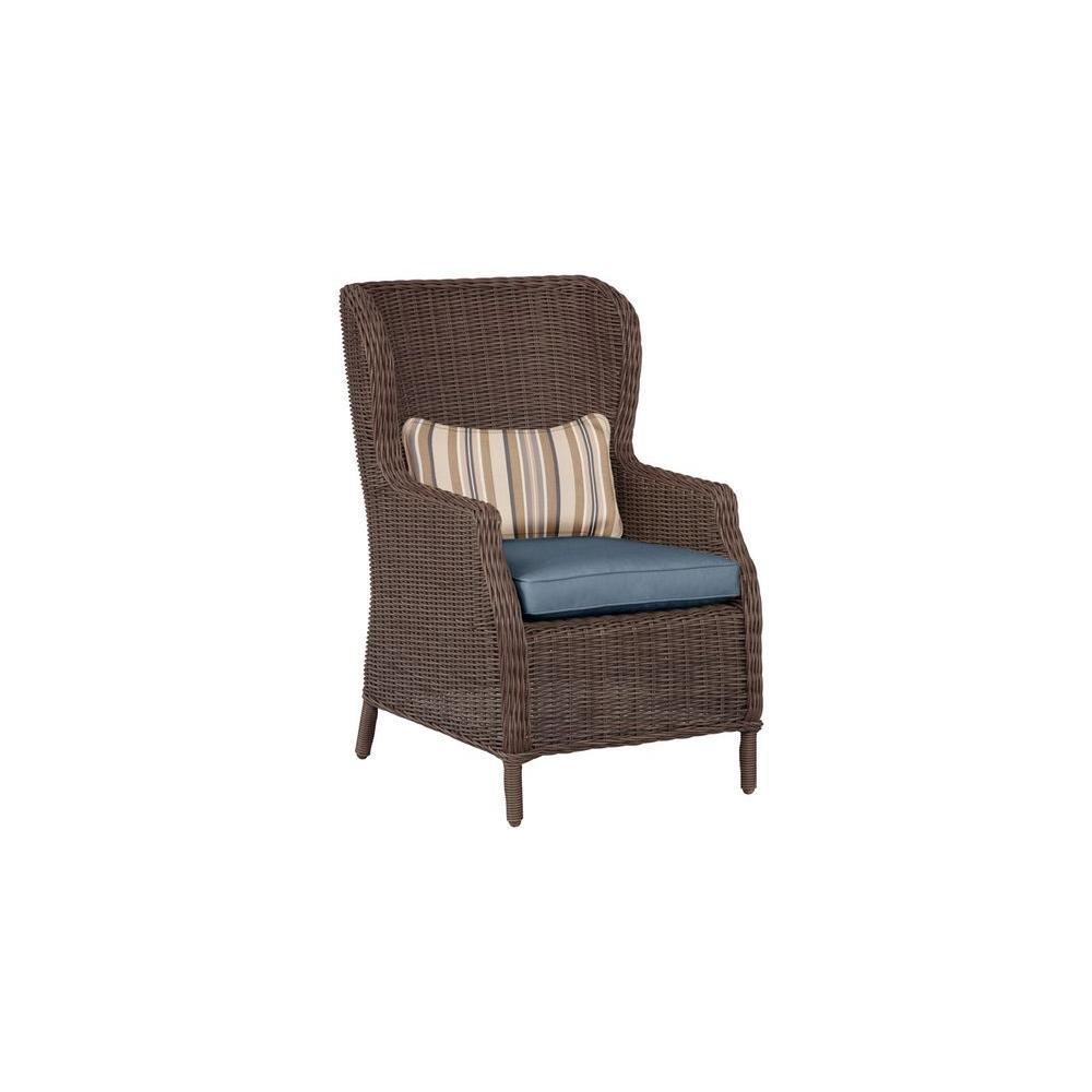 Vineyard Patio Cafe Chair in Denim with Terrace Lane Lumbar Pillow (2-Pack) -- CUSTOM