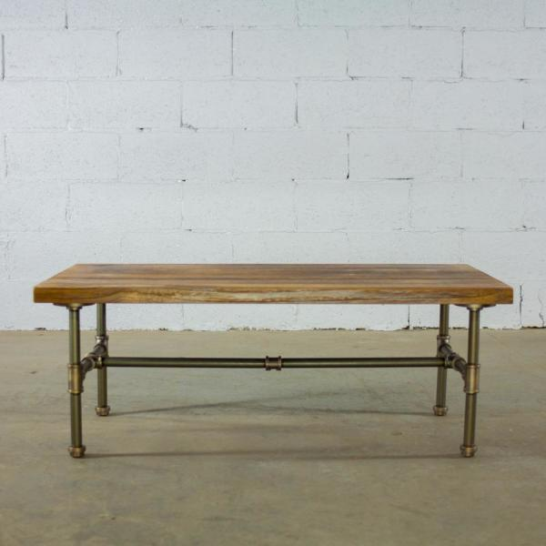 Industrial Rectangle Coffee Table w//Storage Solid Wood Desk for Living Room