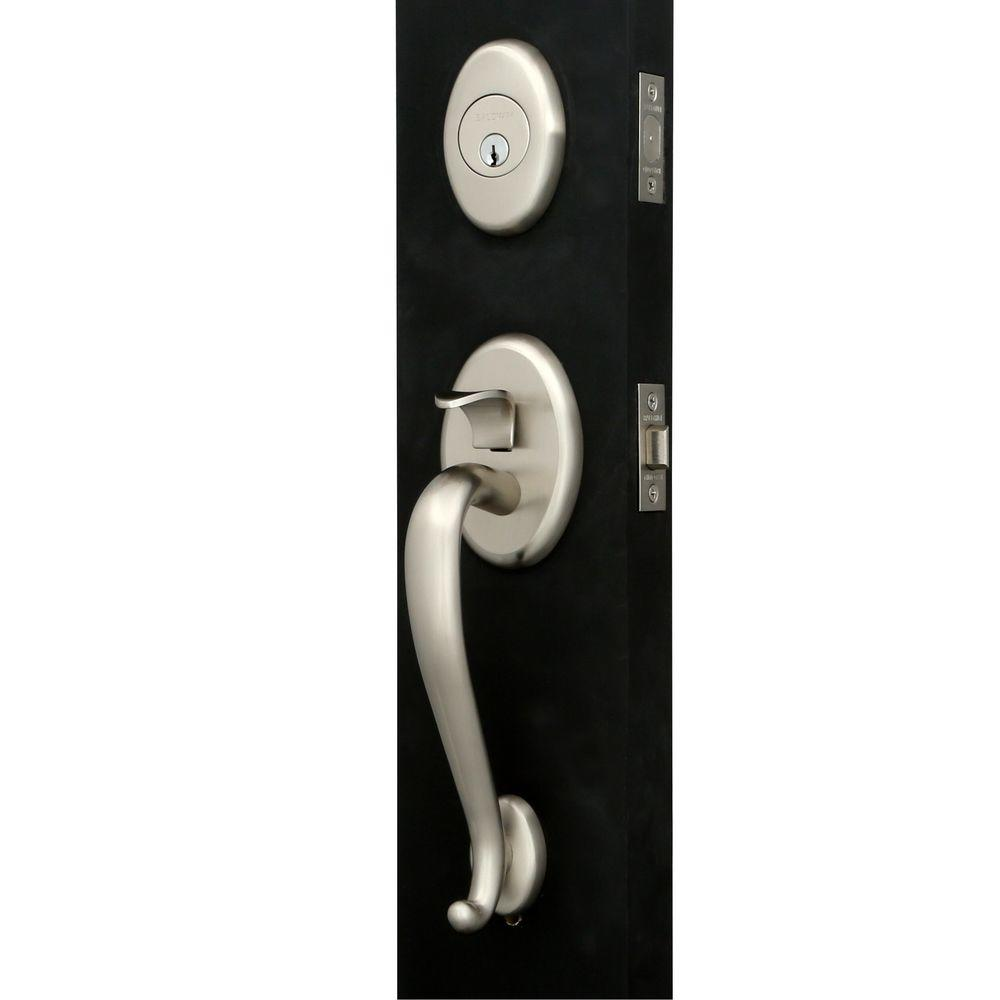 Logan Single Cylinder Satin Nickel Handleset with Classic Knob