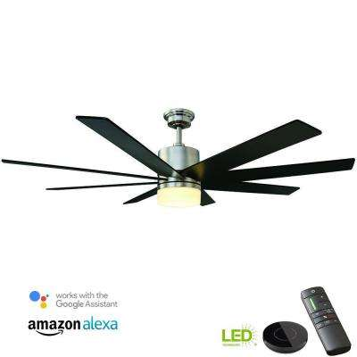 Kingsbrook 60 in. LED Brushed Nickel Ceiling Fan with Light Kit works with Google Assistant and Alexa