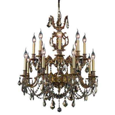 16-Light French Gold Chandelier with Golden Teak Smoky Crystal