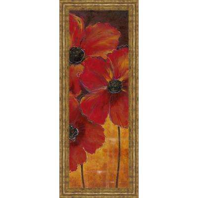 "18 in. x 42 in. ""Midnight Poppy II"" by Richard Henson Framed Printed Wall Art"