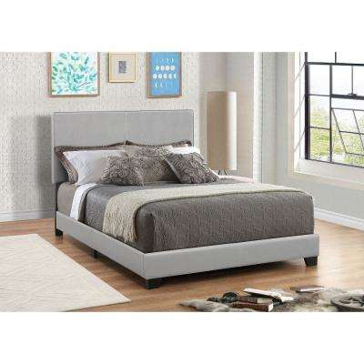 Gray Leather Upholstered Queen Size Platform Bed