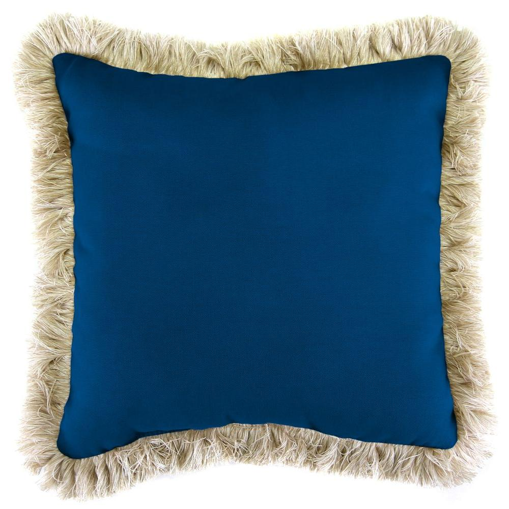Jordan Manufacturing Sunbrella Canvas Navy Square Outdoor Throw Pillow with Canvas Fringe