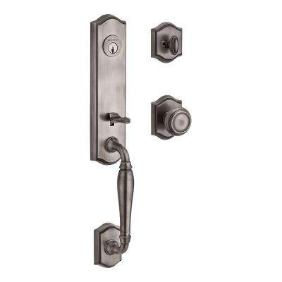 New Hampshire Single Cylinder Matte Antique Nickel Door Handleset with Traditional Knob and Traditional Arch Rose