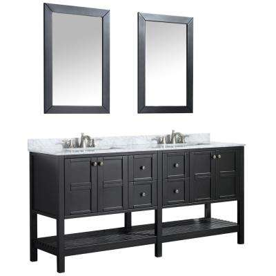 Montaigne 72 in. W x 35.75 in. H Bath Vanity in Black with Marble Vanity Top in Carrara White w/ White Basin and Mirror