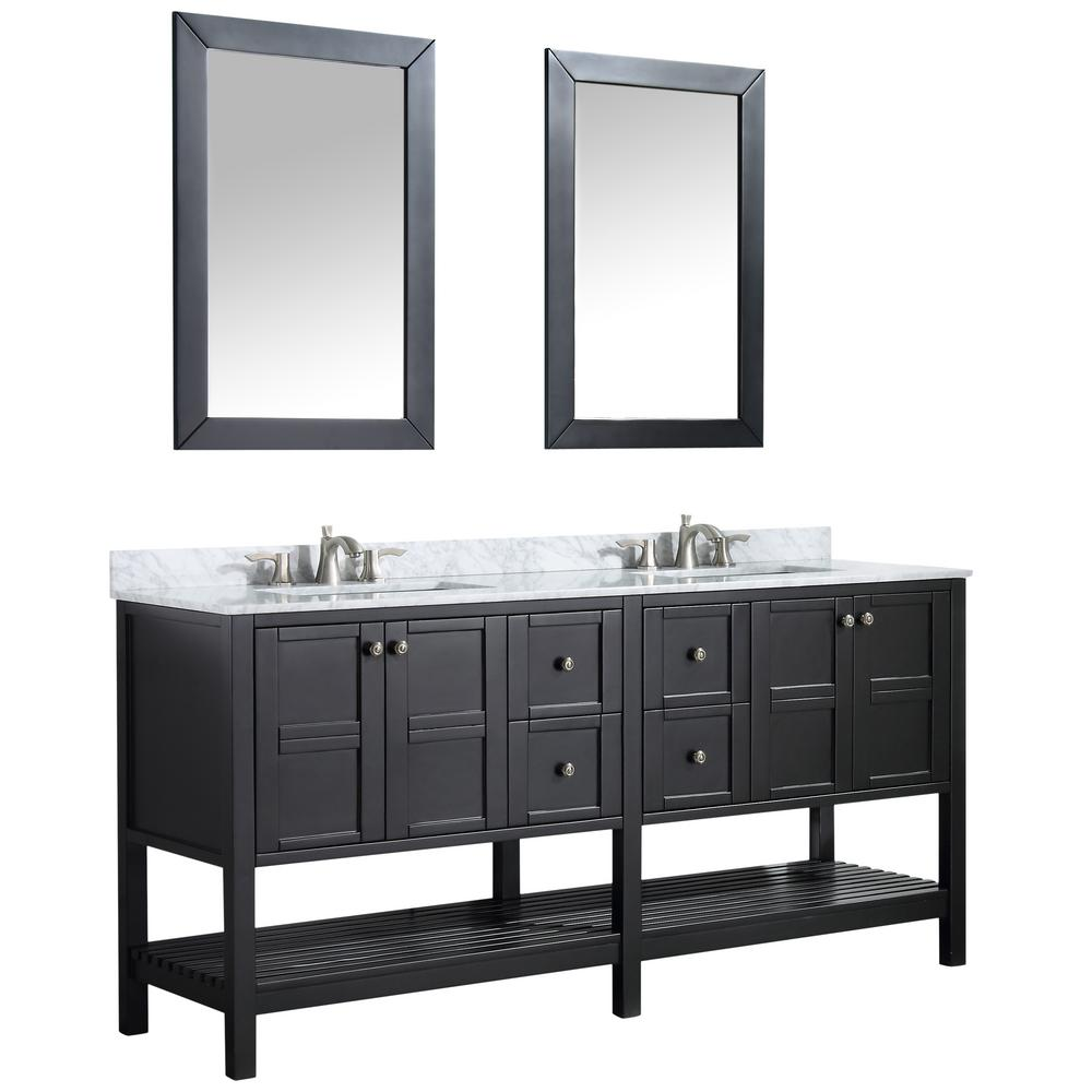 ANZZI Montaigne 72 in. W x 35.75 in. H Bath Vanity in Black with Marble Vanity Top in Carrara White w/ White Basin and Mirror