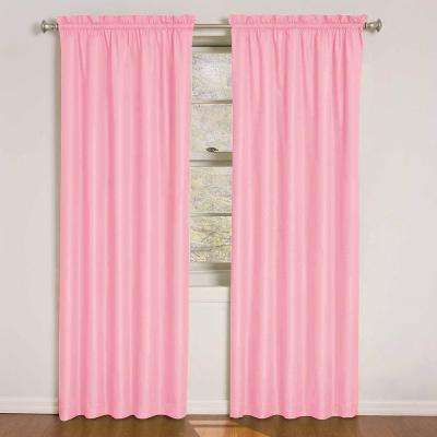 Kids Polka Dots Blackout Window Curtain Panel in Pink - 42 in. W x 84 in. L
