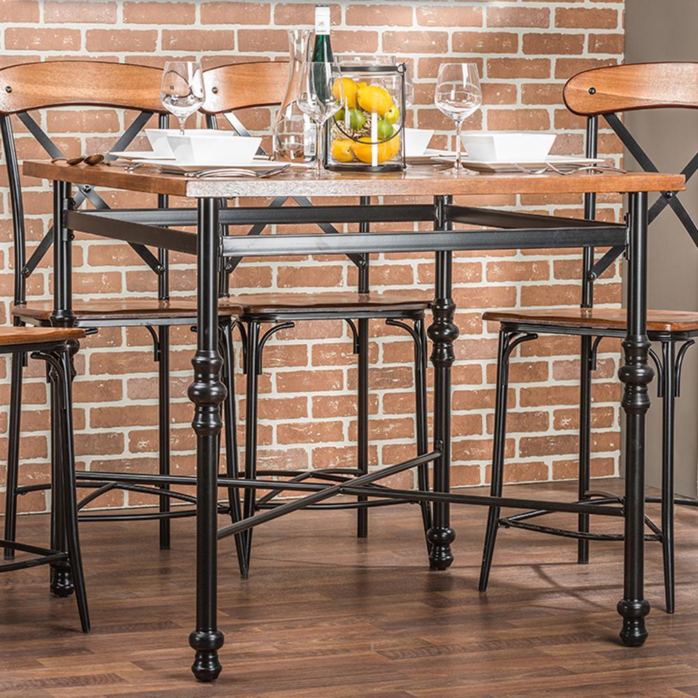 Baxton Studio Broxburn Light Brown Wood and Metal Pub Table