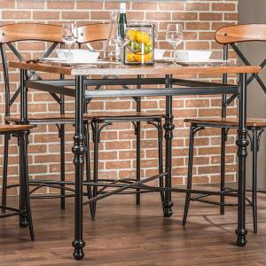 Baxton Studio Broxburn Light Brown Wood and Metal Pub Table by Baxton Studio