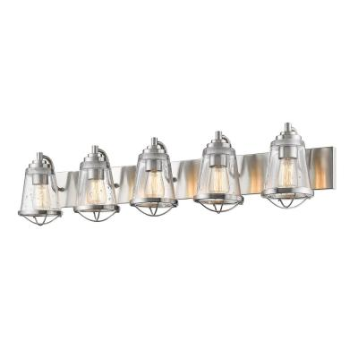 Lorinda 5-Light Brushed Nickel Bath Light with Clear Seedy Glass Shade