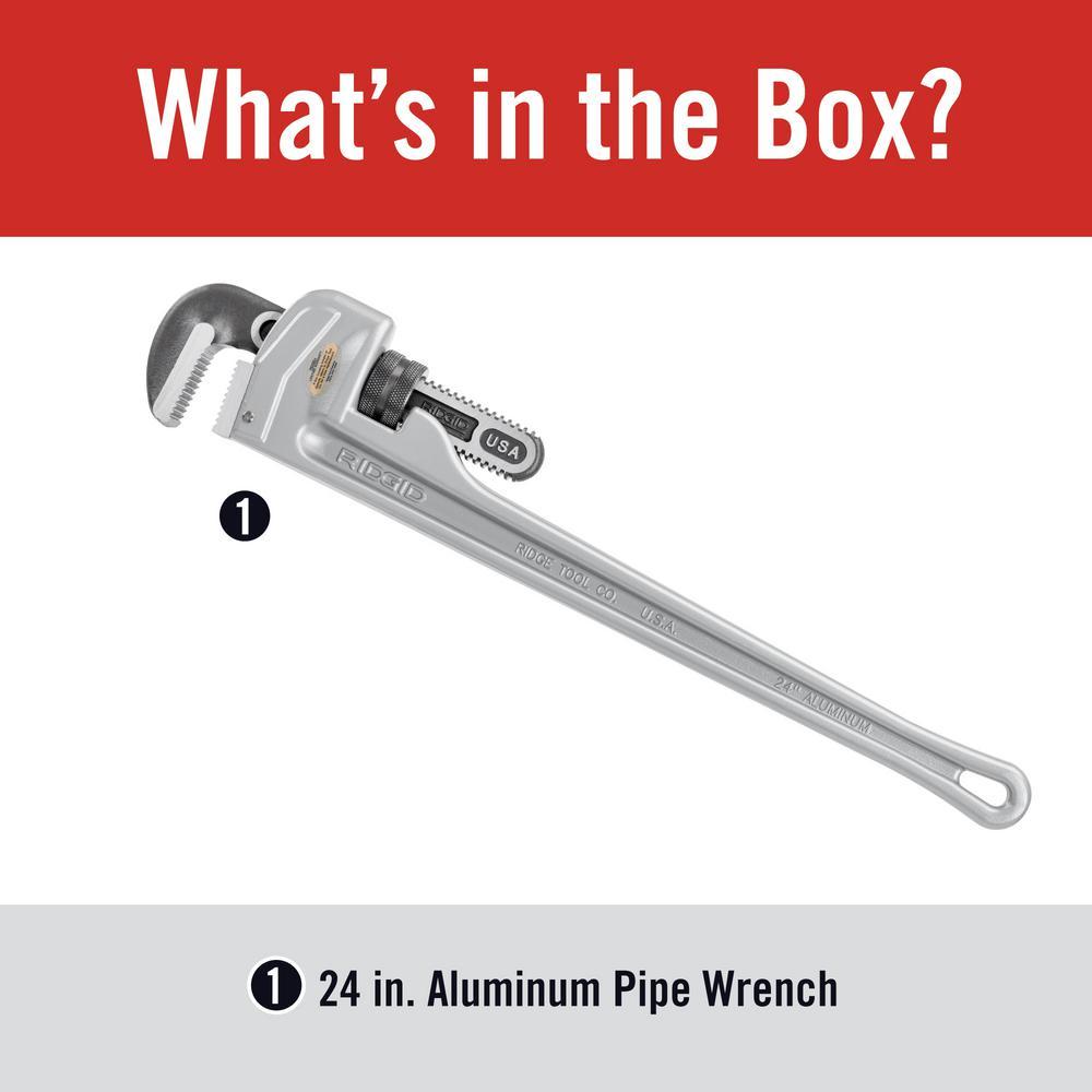 "Ridgid 24/"" Aluminum Handle Straight Pipe Wrench"