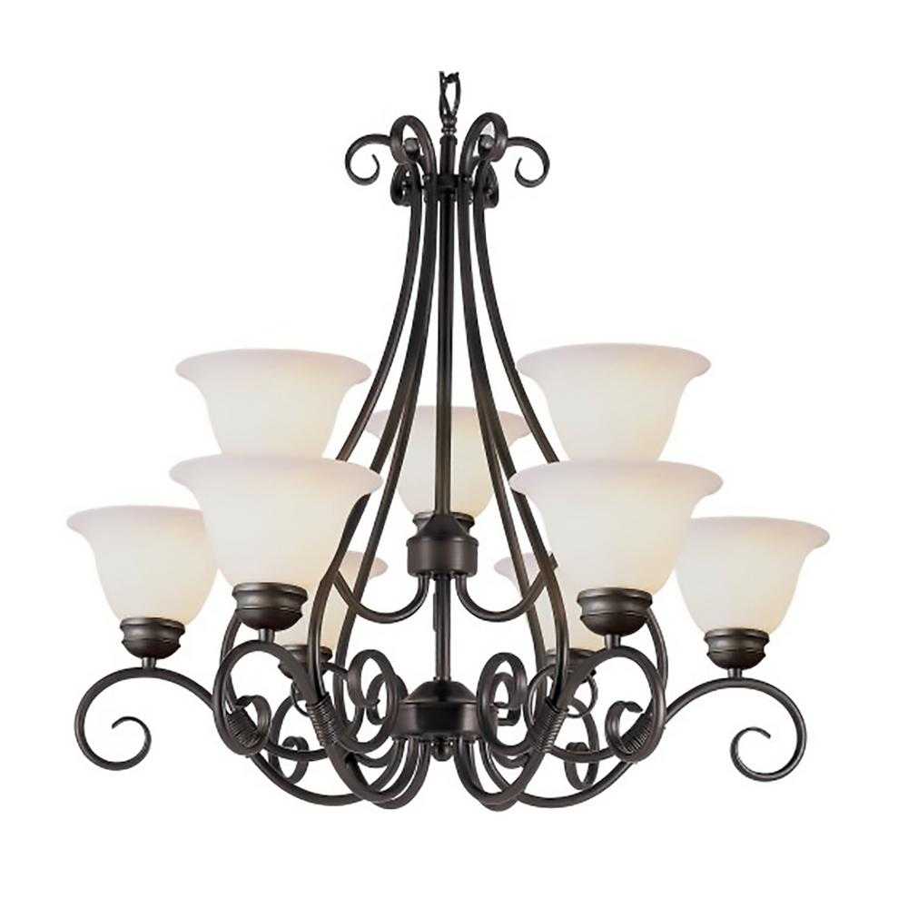 Bel Air Lighting New Victorian 9 Light Pewter Chandelier With Frosted Glass Shades