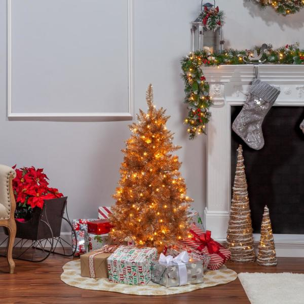 Sterling 4 Ft H Rose Gold Tuscany Tinsel Tree 6036 40rg The Home Depot