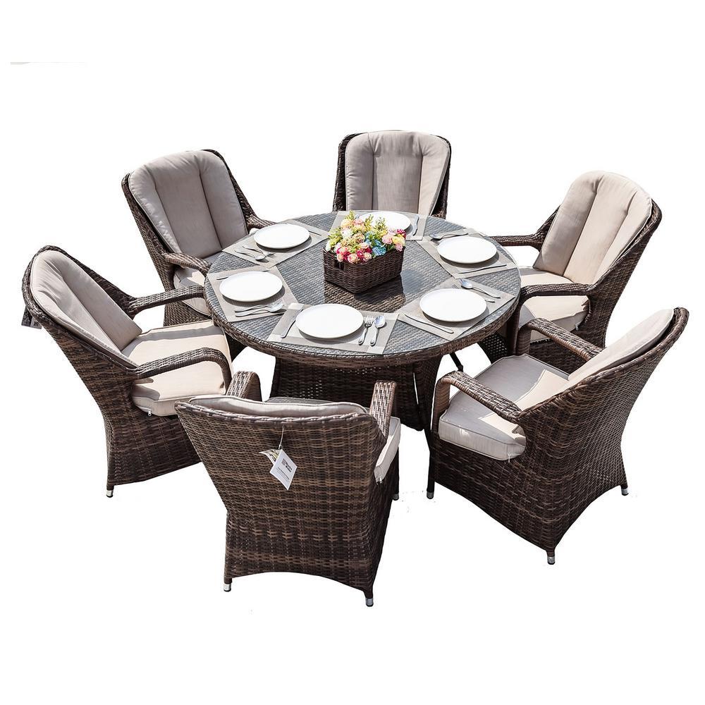 Cordella Brown 7-Piece Wicker Round Outdoor Dining Set with Beige Cushions