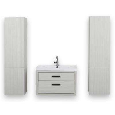 31.5 in. W x 19.4 in. H Bath Vanity in Gray with Resin Vanity Top in White with White Basin