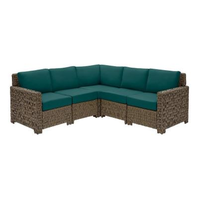 Laguna Point 5-Piece Brown Wicker Outdoor Patio Sectional Sofa Set with CushionGuard Malachite Green Cushions