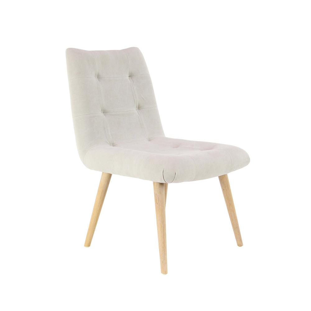 White Wood and Fabric Tufted Dining Chair