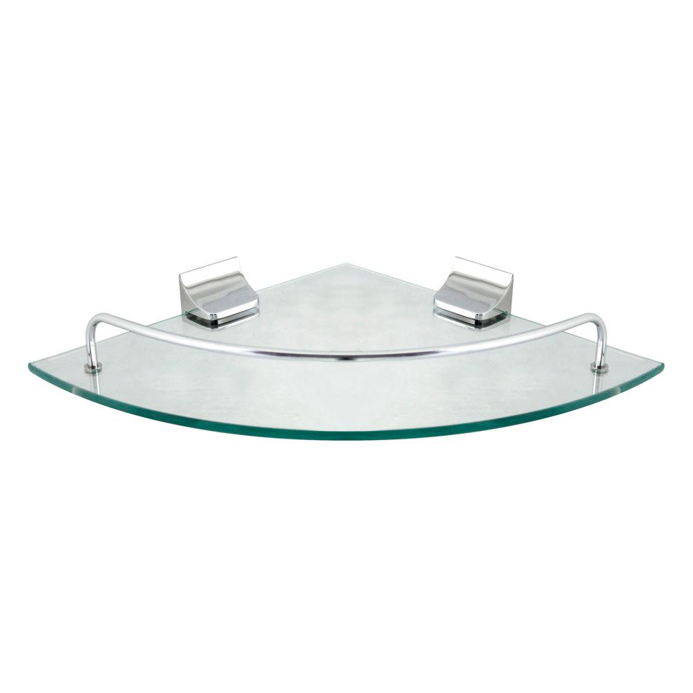 MODONA 9 5 in  x 9 5 in  Glass Corner Shelf with Pre-Installed Rails in  Polished Chrome