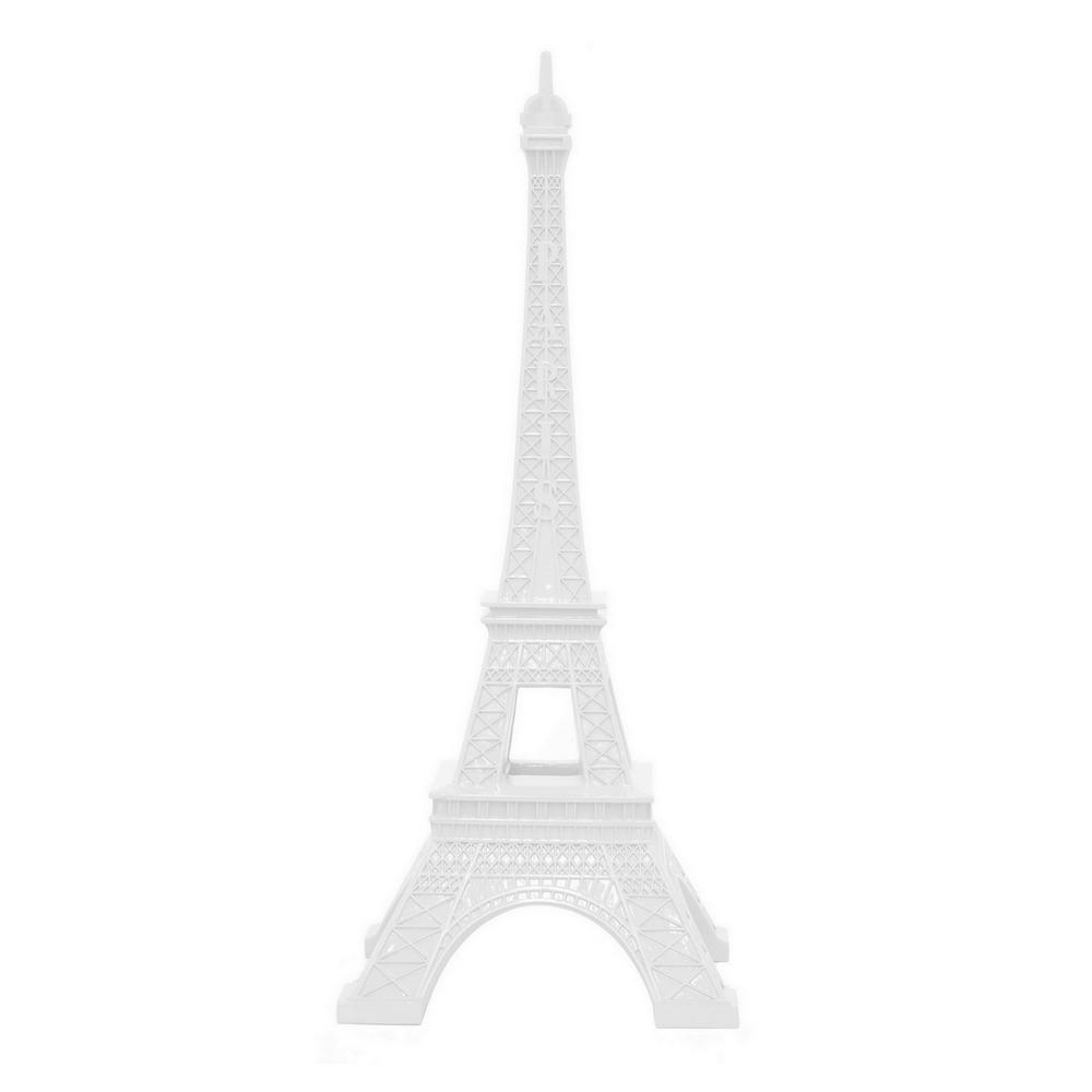 THREE HANDS 11 In. X 11 In. White Resin Eiffel Tower Tabletop Decor In