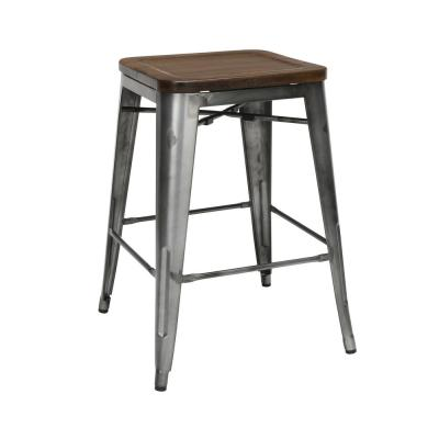 161 Collection Industrial Modern 4-PK Fully Assembled with Wood Seats 26 in. Gunmetal/Walnut Backless Metal Bar Stools