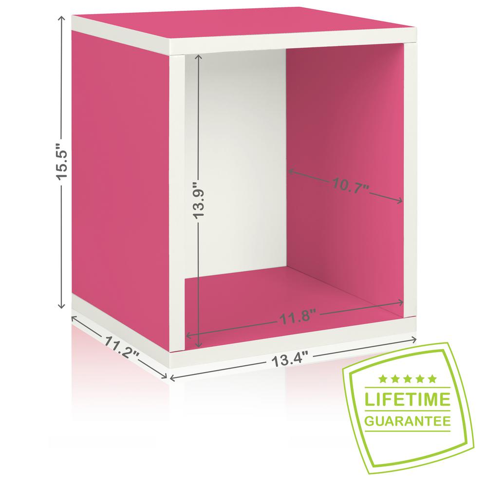 Way Basics Eco Stackable zBoard  11.2 x 13.4 x 12.8 Tool-Free Assembly Tall Storage Cube Unit Organizer in Pink