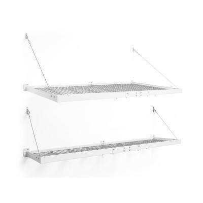 Pro Series 4 ft. x 8 ft. and 2 ft. x 8 ft. Wall Mounted Steel Shelf Set in White