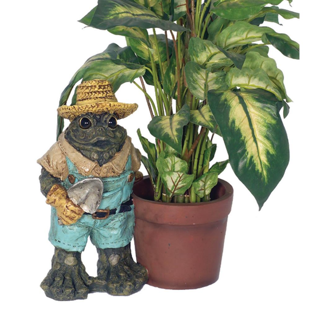 HOMESTYLES 13 in. Gardener Toad with Planter Pot Frog Statue (Holds 6 in. Pot)