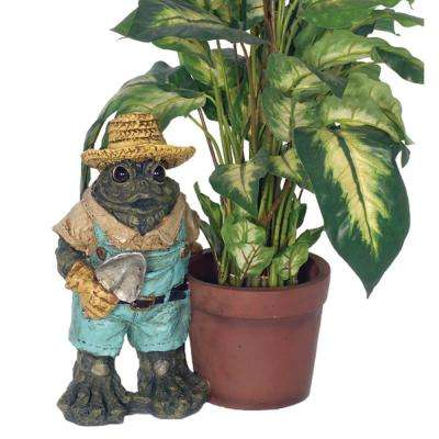 13 in. Gardener Toad with Planter Pot Frog Statue (Holds 6 in. Pot)