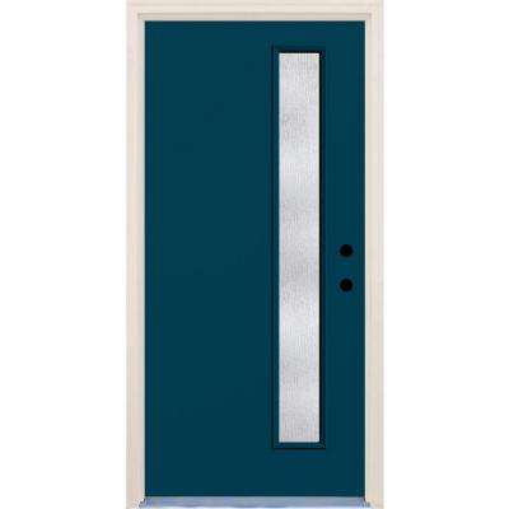 36 in. x 80 in. Atlantis 1 Lite Rain Glass Painted Fiberglass Prehung Front Door with Brickmould
