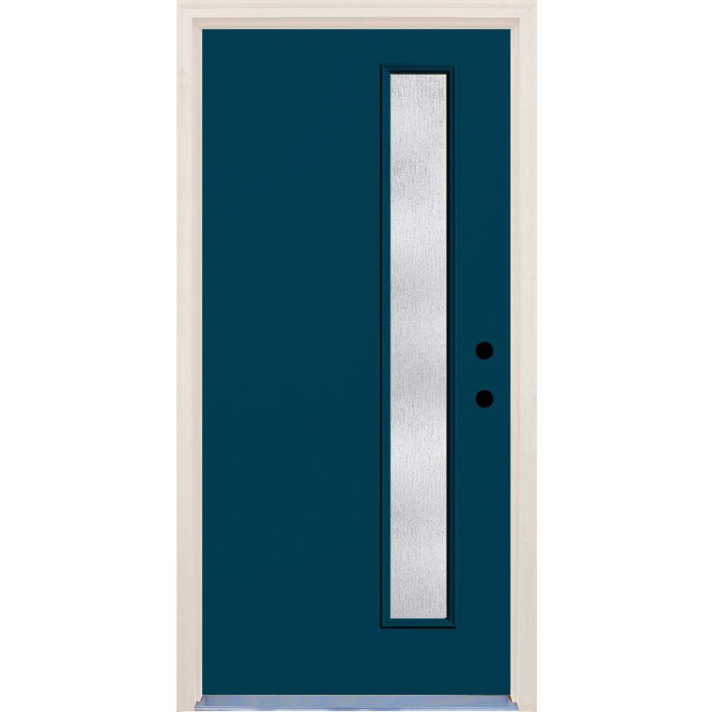 36 in. x 80 in. Left-Hand Atlantis 1 Lite Rain Glass Painted Fiberglass Prehung Front Door with Brickmould