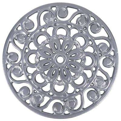 Decorative Cast Iron Metal Trivet in Silver