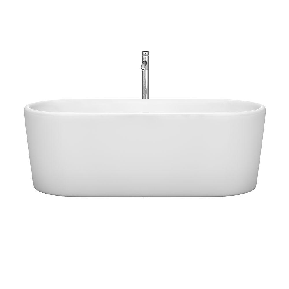 Wyndham Collection Ursula 67 in. Acrylic Flatbottom Center Drain Soaking Tub in White with Polished Chrome Trim and Floor Mounted Faucet