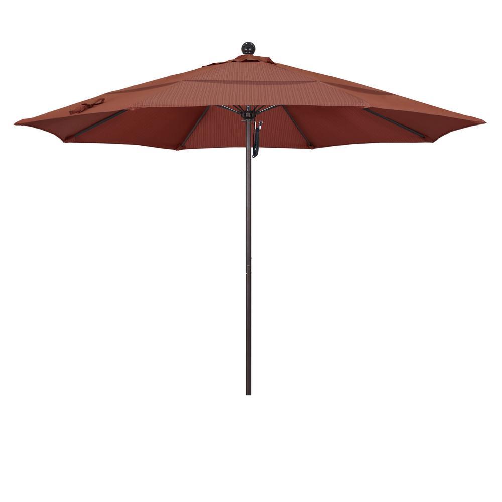 11 ft. Matted White Fiberglass Market Patio Umbrella PO DVent Bronze in Terrace Adobe Olefin