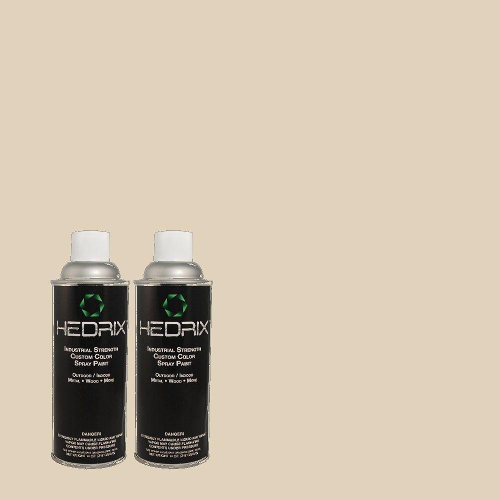 Hedrix 11 oz. Match of PPU7-9 Aged Beige Low Lustre Custom Spray Paint (8-Pack)