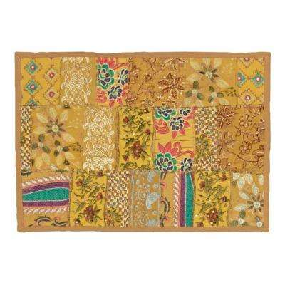 Timbuktu 13 in. W x 19 in. H Hand Crafted Gold Cotton and Poly Recycled Sari Placemats (Set of 4)