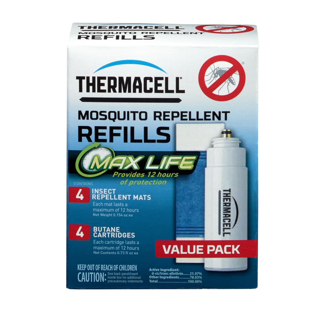 Thermacell Mosquito Repellent Max-Life Refill Pack Thermacell Max Life Mosquito Repellent Refills effectively repel mosquitoes by creating a 15 ft. zone of protection when used in a Thermacell Repeller. Each Max Life mat lasts 12 hours 3X longer than original Thermacell mats so you replace mats less frequently. Thermacell products are safe, effective and come with a 100% Satisfaction Guarantee. With Thermacell, Turn it on… Mosquitoes GONE!
