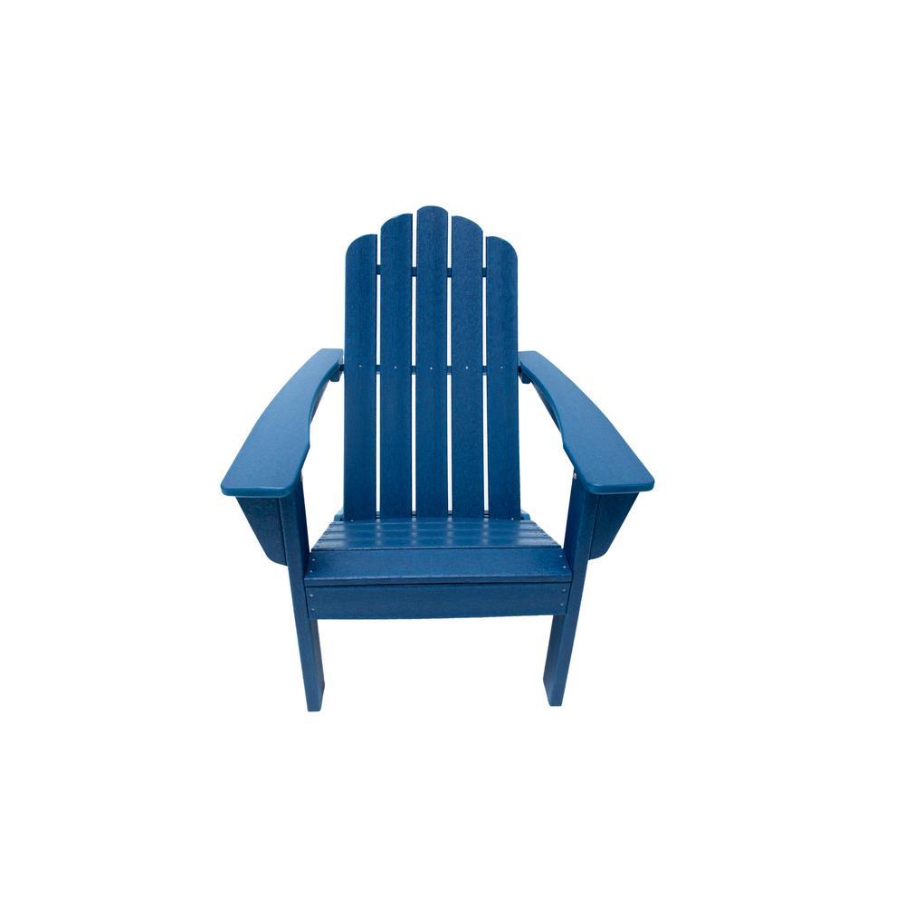 Marina Navy Poly Plastic Outdoor Patio Adirondack Chair