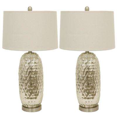 Antique Mercury Glass Dimple 27.5 in. Clear Table Lamp with Shade (Set of 2)