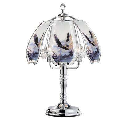 23.5 in. Flying Eagle Silver Touch-On Table Lamp