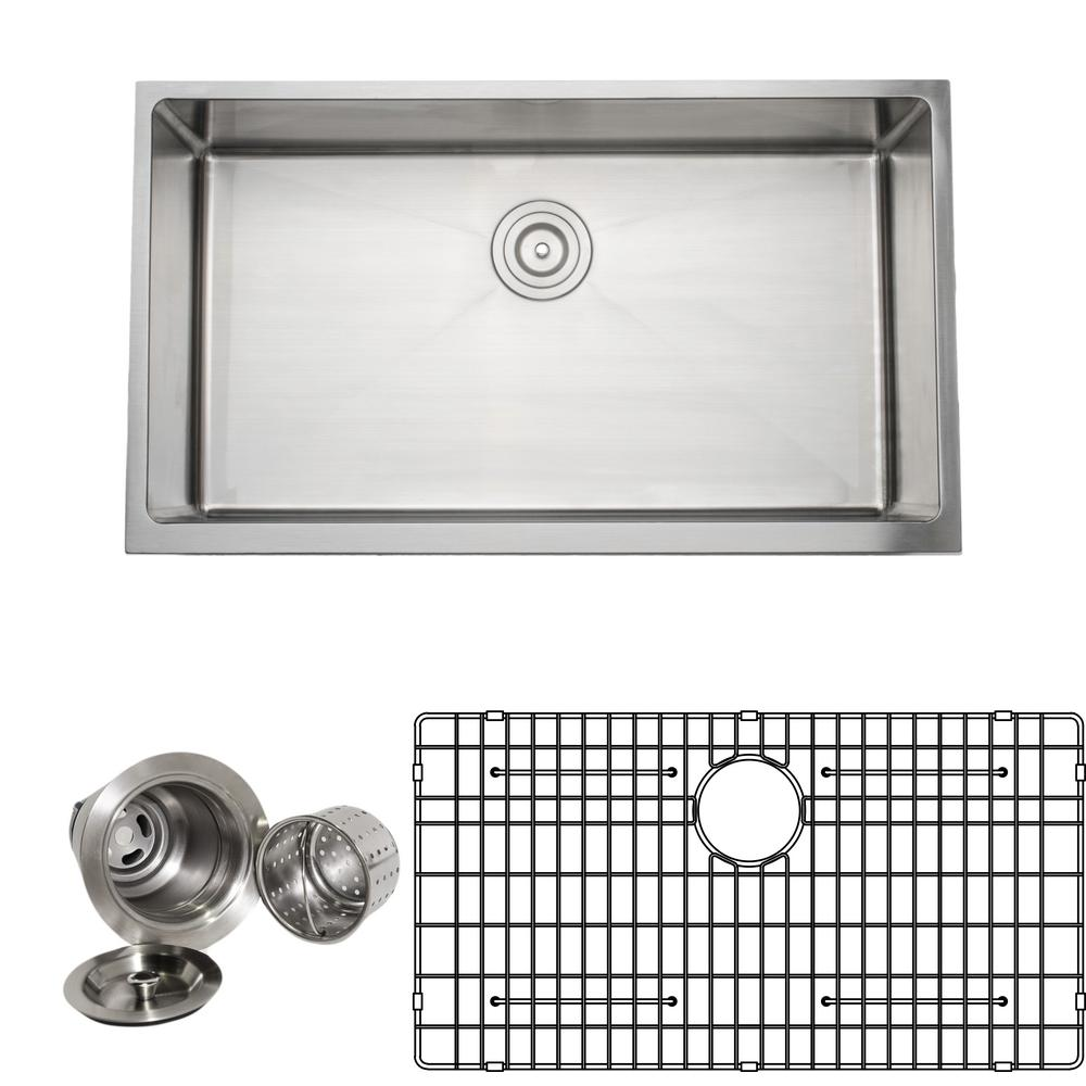 Stainless steel handmade single bowl kitchen sink package