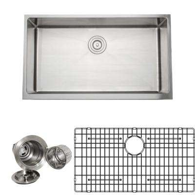 The Chef's Series Apron-Front 33 in. Stainless Steel Handmade Single Bowl Kitchen Sink Package