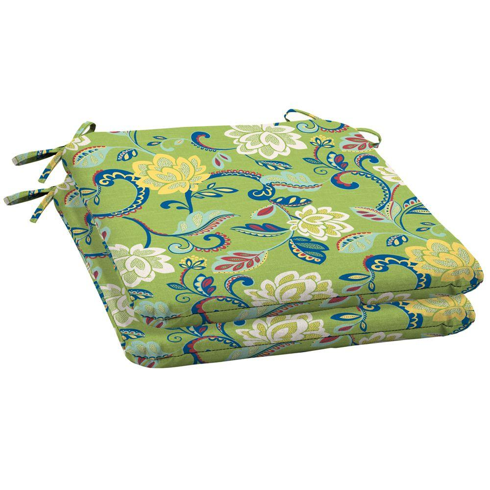 Arden Beachside Floral Wrought Outdoor Iron Seat Pad 2 Pack-DISCONTINUED