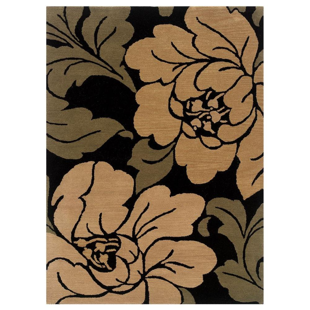 Florence Collection Black and Sand 5 ft. x 7 ft. Indoor