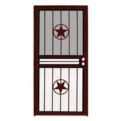36 in. x 80 in. Lone Star Wineberry Recessed Mount All Season Security Door with Insect Screen and Glass Inserts