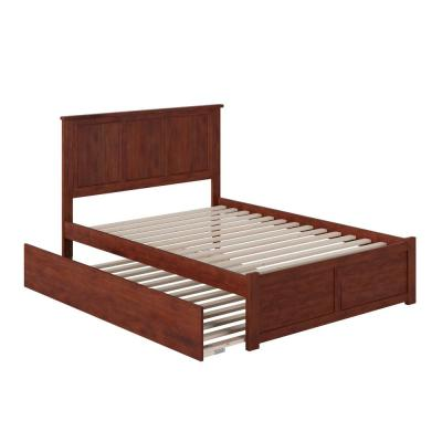 Madison Walnut Full Platform Bed with Flat Panel Foot Board and Full Urban Trundle Bed